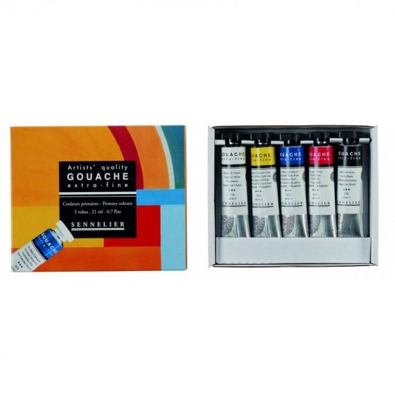 Boite gouaches SENNELIER - Extra-fine - Initiation - 5 Tubes de 21 ml (Carton)