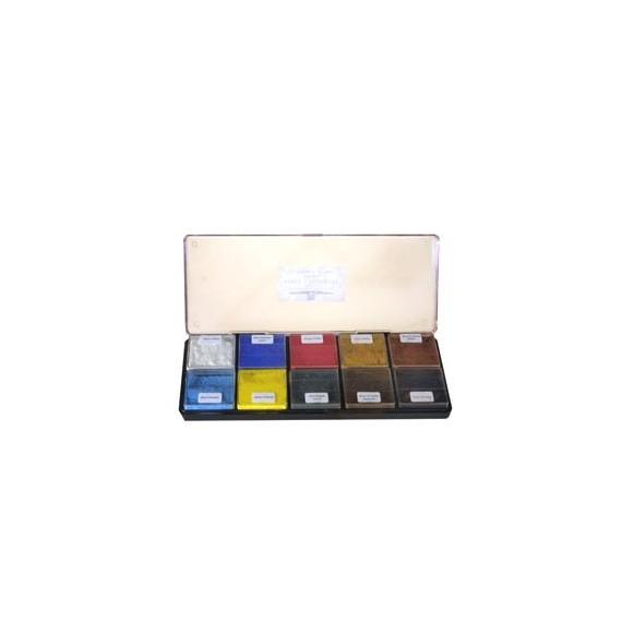 Boite pigment CDQV - Initiation - 10 couleurs assorties  (Plastique)