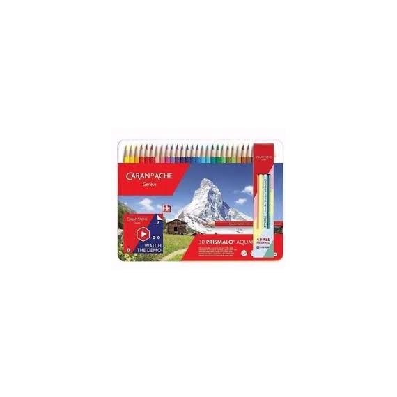 Boite crayon aquarelle CARAN D'ACHE Prismalo 1 - 30 crayons assortis 999.330 (Métal)