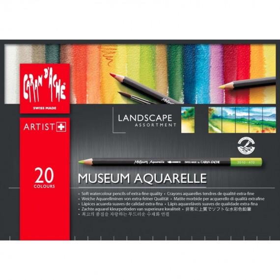 Boite crayon aquarelle CARAN D'ACHE - Museum - 20 Crayons Museum paysage (Métal)