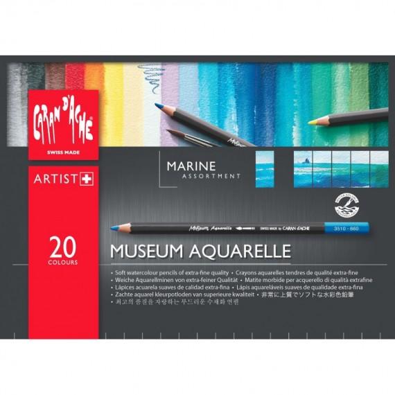 Boite crayon aquarelle CARAN D'ACHE - Museum - 20 Crayons Museum marine (Métal)