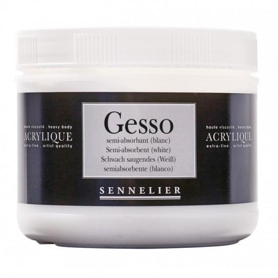 GESSO SENNELIER ACRYLIQUE SEMI-ABSORBANT POT 500 Ml