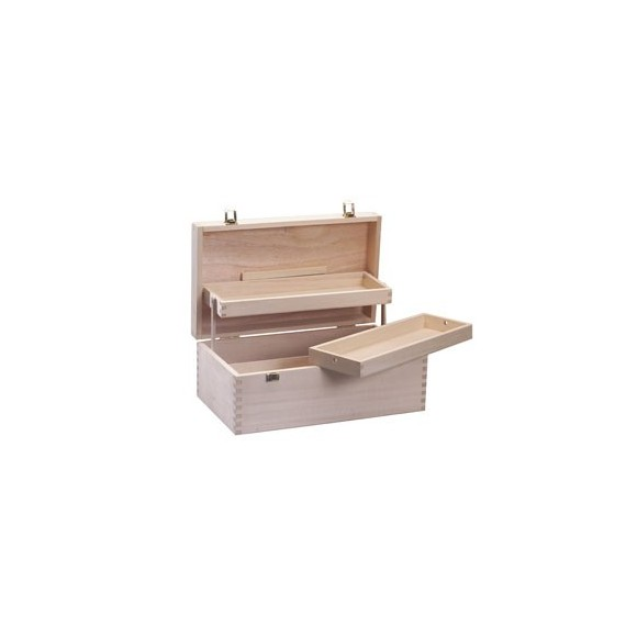 Coffret vide RS ACTIVITE en bois de Peuplier - 2 casiers - 38 x 20 x14.5 cm
