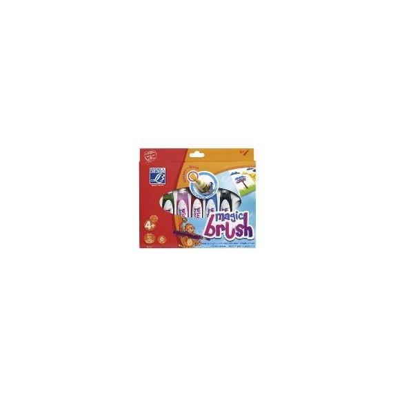 Boite  feutre pinceau LEFRANC - MAGIC BRUSH - 6 pinceaux à réserve de 15 ml - Couleurs assorties