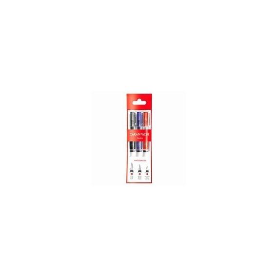 Pochette CARAN D'ACHE - 3 pinceaux à reservoir pour eau - Feutre pinceaux vide