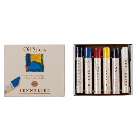 Boite stick à l'huile SENNELIER - 6 Couleurs assorties (Carton) - petit modèle