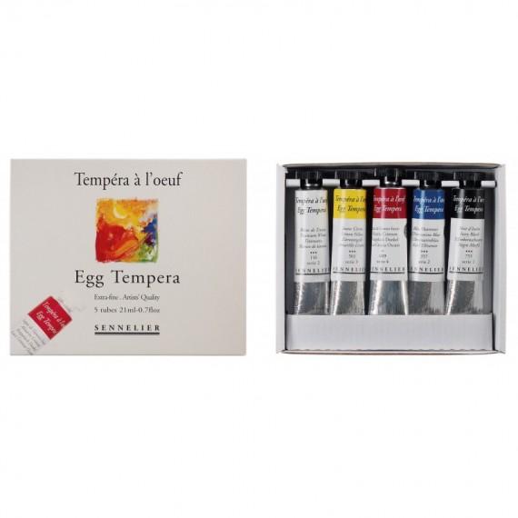 Boite tempéra SENNELIER Initiation - 5 tubes de 21 ml (Carton)