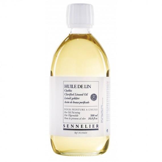 Huile de lin clarifiée SENNELIER - Flacon:500 ml
