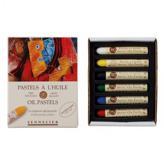 Boite pastel à l'huile SENNELIER - 6 Pastels à l'huile - Découverte (Carton) - N132519.