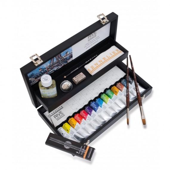 Coffret Huile SENNELIER Rive gauche - Fine - 14 tubes de 40 ml + accessoires (Bois noir)