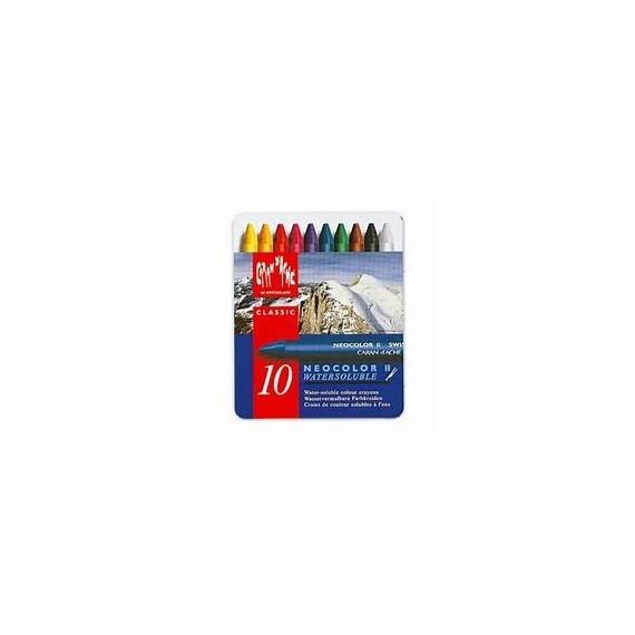Boite pastel à la cire aquarelle CARAN D'ACHE - Neocolor II - 10 pastels à la cire 7500.310 (Métal)
