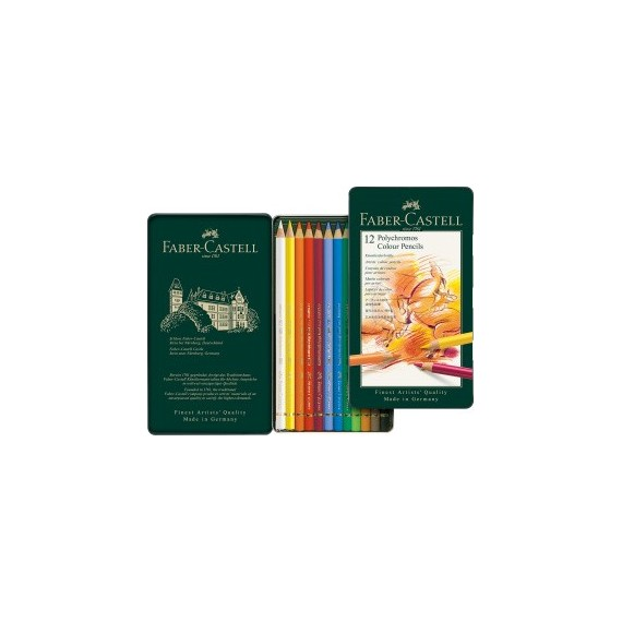 Boite crayon de couleur FABER & CASTELL Polychromos - 12 crayons Polychromos 110012 (Métal)