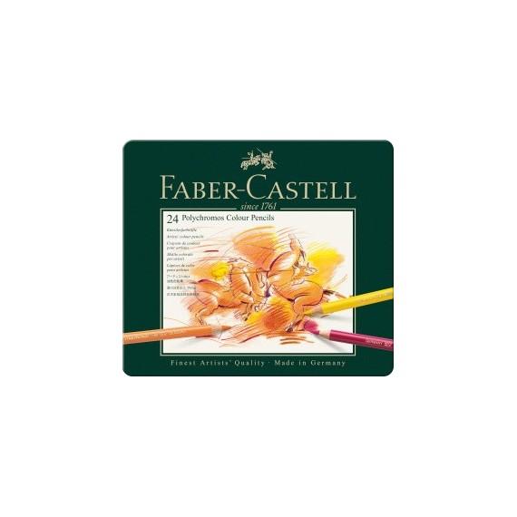 Boite crayon de couleur FABER & CASTELL Polychromos - 24 crayons Polychromos 110024 (Métal)