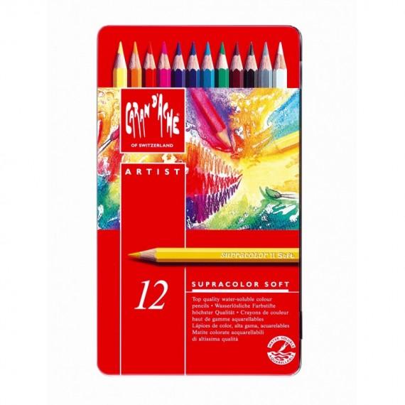 Boite crayon aquarelle CARAND'ACHE Supracolor soft - 12 crayons supracolor 3888.312 (Métal)