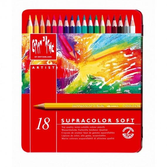 Boite crayon aquarelle CARAND'ACHE Supracolor soft - 18 crayons supracolor3888.318 (Métal)