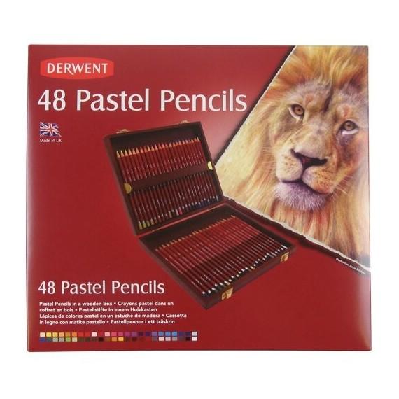 Coffret crayon pastel DERWENT - 48 couleurs - Coffret en bois