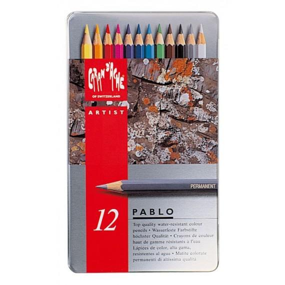Boite crayon de couleurs CARAN D'ACHE - Pablo collection - 12 crayons Pablo  666.312 (Métal)