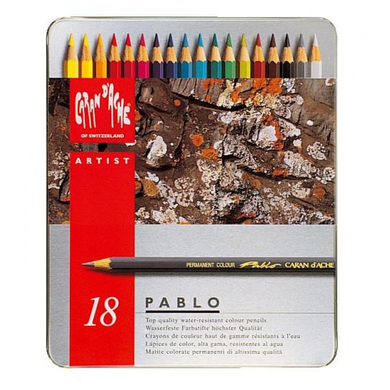 Boite crayon de couleurs CARAN D'ACHE - Pablo collection - 18 crayons Pablo 666.318 (Métal)