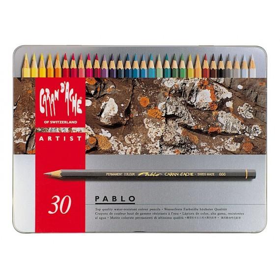 Boite crayon de couleurs CARAN D'ACHE - Pablo collection - 30 crayons Pablo 666.330 (Métal=