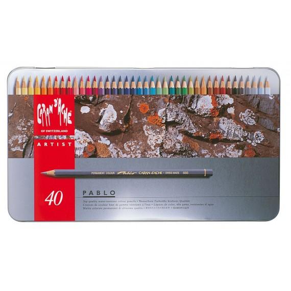Boite crayon de couleurs CARAN D'ACHE - Pablo collection - 40 crayons Pablo 666.340 (Métal)