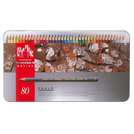 Boite crayon de couleurs CARAN D'ACHE - Pablo collection - 80 crayons Pablo 0666.380 (Métal)