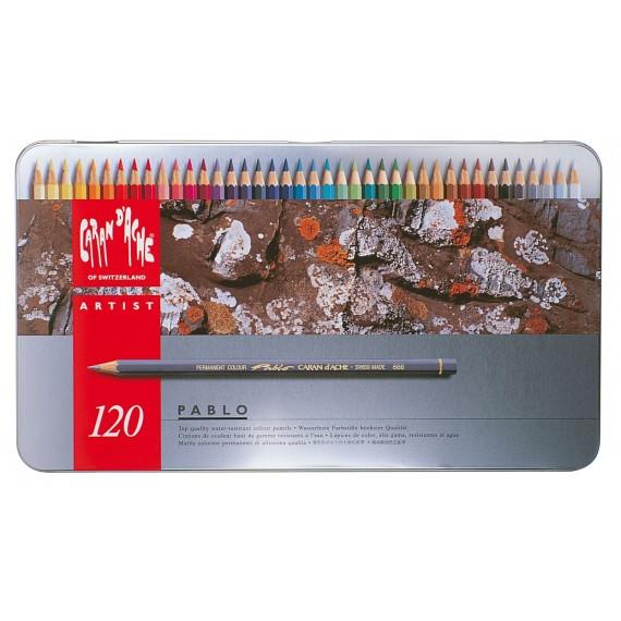 Boite crayon de couleurs CARAN D'ACHE - Pablo collection - 120 crayons Pablo 666.420 (Métal)