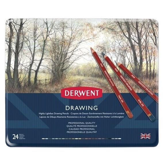 Boite crayon drawing DERWENT - 24 crayons assortis
