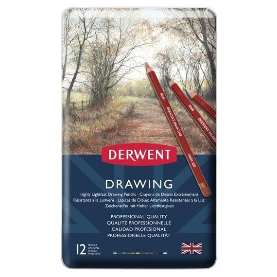 Boite crayon drawing DERWENT - 12 crayons assortis