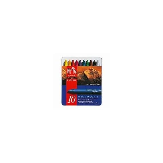 Boite pastel à la cire CARAN D'ACHE - Neocolor I - 10 Pastels 7000.310 (Métal)