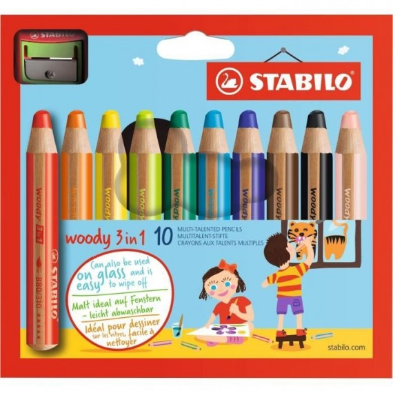 Boite crayon aquarelle SWAN STABILO Woody - 10 Crayons woody + taille crayon sécurité enfant 880/10-