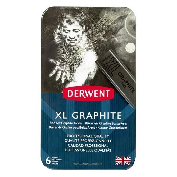 Boite craie pastel DERWENT - 6 craies graphite XL