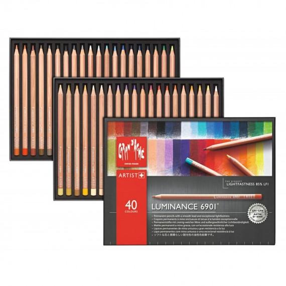 Boite crayon de couleur CARAN D'ACHE Luminance - 40 crayons luminance 6901.740 (Métal)