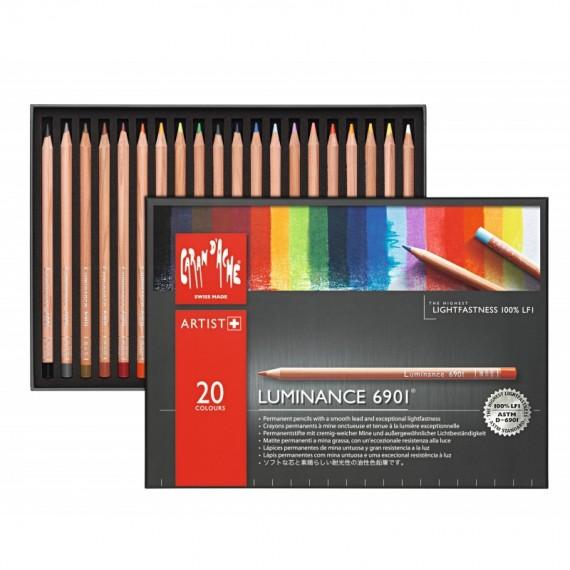 Boite crayon de couleur CARAN D'ACHE Luminance - 20 crayons luminance 6901.720 (Métal)