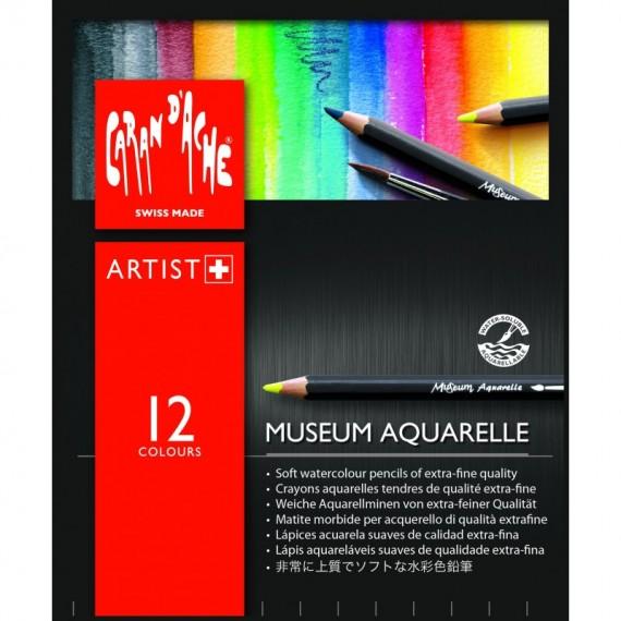 Boite crayons aquarelle CARAN D'ACHE - Museum - 12 Crayons Museum assortis (Métal)