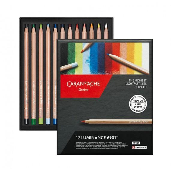 Boite crayon de couleur CARAN D'ACHE Luminance - 12 crayons luminance 6901.712 (Métal)