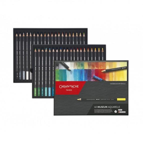 Boite crayon aquarelle CARAN D'ACHE - Museum - 40 Crayons Museum paysage (Métal)