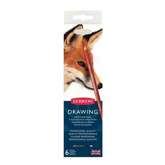 Boite crayon drawing DERWENT - 6 crayons assortis