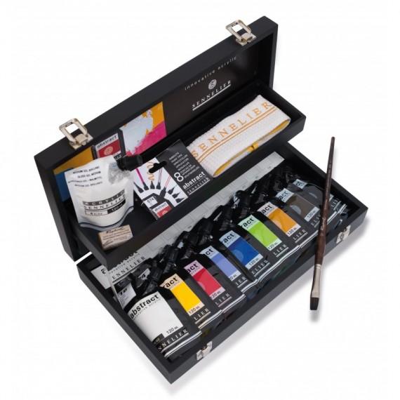 Coffret Acrylique SENNELIER Abstract - fine - 9 doypack + accessoires (Bois noir)