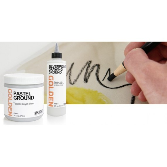 Gesso GOLDEN enduit acrylique pour pastels -Pot :473 ML (Acrylic ground pastels)