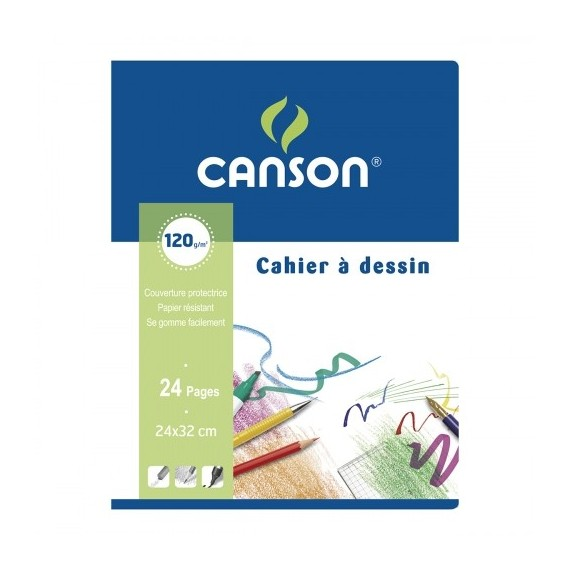 Cahier dessin CANSON  - 120gr (24 p) - F:24 x 32 cm (C200027109) - Agraphes