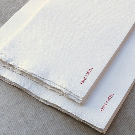 CARNET KHADI BBL4 WHITE ROUGH 20 X 51 CM 320 GR 16 PAGES