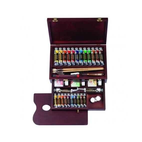 Coffret huile REMBRANDT Master - Extra-fine - 24 Tubes + Accessoires (Bois)