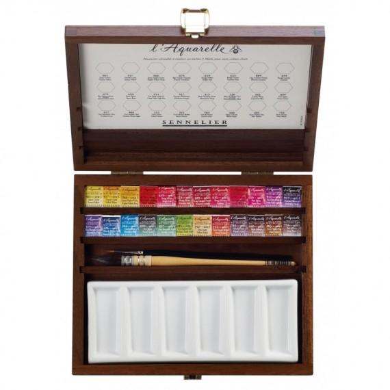 Coffret Aquarelle SENNELIER - Extra-fine - 24/12 Godets + accessoires (Bois)