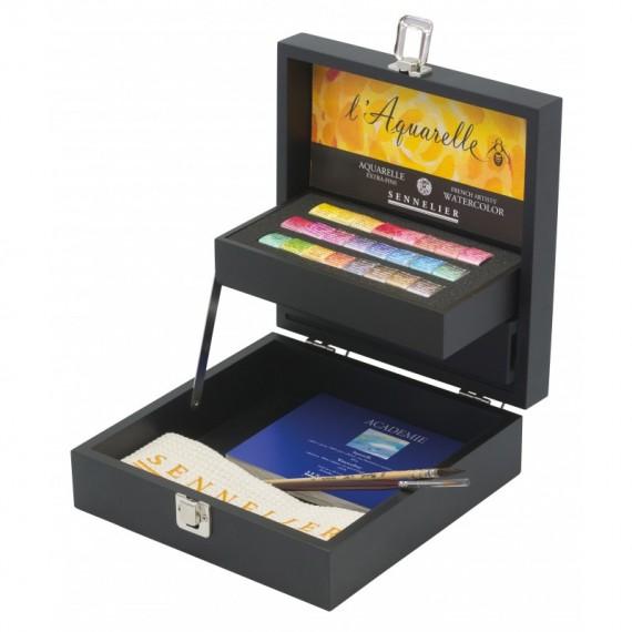 Coffret Aquarelle SENNELIER - Extra-fine - 24 1/2 Godets + accessoires (Bois noir)