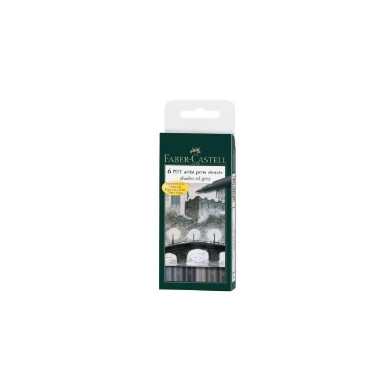 Boite feutre FABER & CASTELL Pitt Artist pen - 6 feutres - Nuances de gris