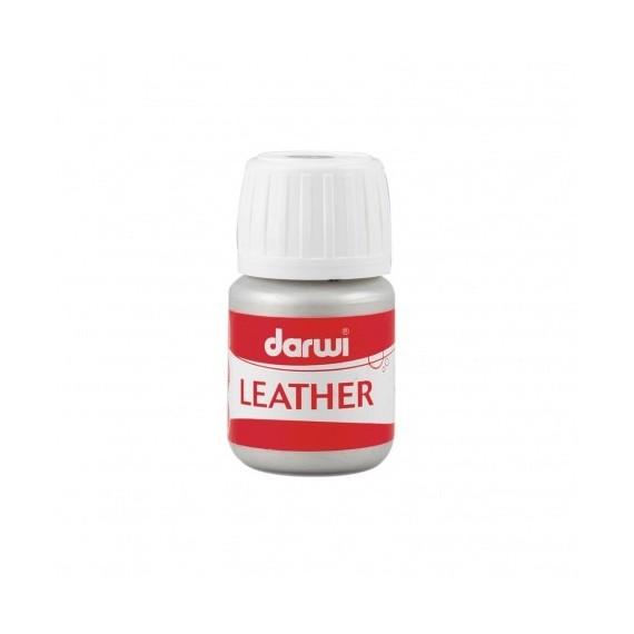 Peinture pour tissu DARWI LEATHER - Peinture pour cuir - Flacon: 30 ml - Argent