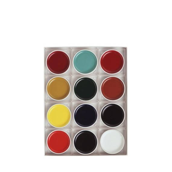 Boite encre japonaise TEPPACHI tradition - 12 Godets rond en porcelaine  - Diamètre: 65 mm (Carton)
