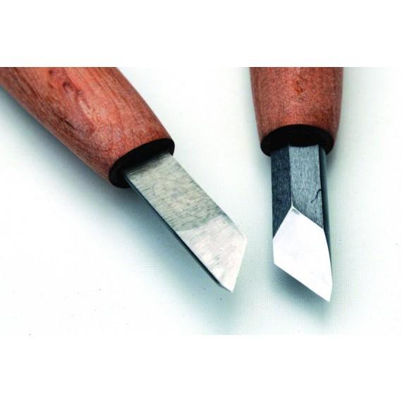 Couteau gravure acier manche long 45° - 6.0 mm