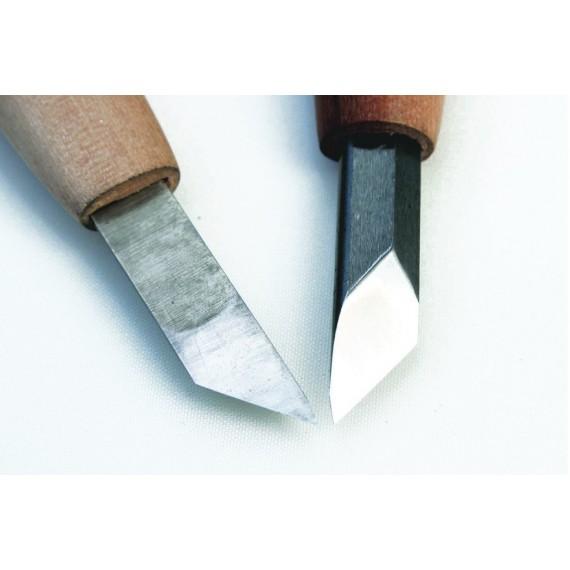 Couteau gravure acier- INTOU - Manche long - Gaucher - 45° - 6.0 mm