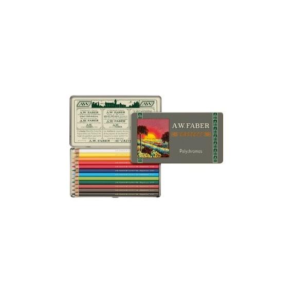 Boite crayon de couleur FABER & CASTELL Polychromos 111 ans - 12 crayons Polychromos 110012 (Métal)